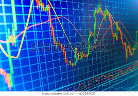 Professional Stock Chart Blue Background Stock Chart Professional Market Stock Photo