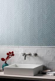Light Blue Herringbone Tile Glacier Grey Glass Herringbone Mosaic