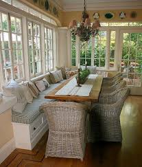 Sunroom Dining Room Interesting Screened In Porch With Builtinbench Seating Could Use With A