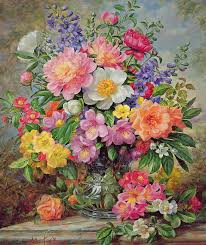still life painting june flowers in radiance by albert williams