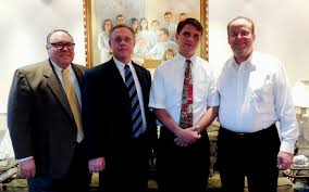 elder daniel george washington barlow from left to right bishop micheal durham president kevin romney elder barlow and russ barlow elder daniel barlow s father