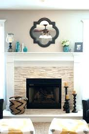 stacked stone fireplace surround white