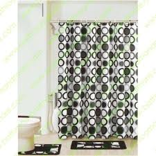 black white gray circles 15 piece bathroom set 2 rugs mats 1 fabric shower curtain 12 fabric covered rings in on m alibaba com