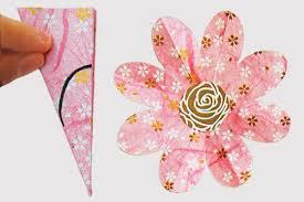 Pattern For Paper Flower Folding Paper Flowers 8 Petals Kids Crafts Fun Craft