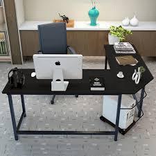 com tribesigns modern l shaped desk corner computer desk pc latop study table workstation home office wood metal black office s