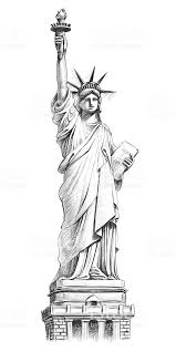 ベクターの手描きイラストに自由の女神 アメリカ合衆国のベクター