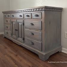distressed antique furniture. For This Finished I Used Rust-Oleum Weathered Gray Stain The First Coat. Let It Dry Over Night Then Distressed Wood. 220 Grit To Lightly Antique Furniture
