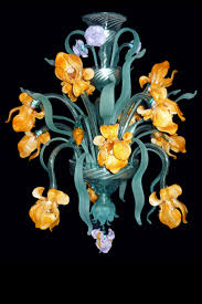 iris van gogh small murano glass chandelier venetian flowers lamp manifactured in venice