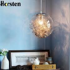 nordic modern diy living room pendant lights creative bedroom restaurant glass ball flower pendant lamp kitchen hanging light round pendant light rustic