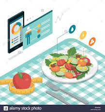 Salad Chart Food And Diet App With Nutrition Chart On A Smartphone And