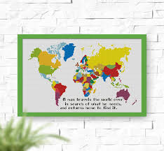 Cross Stitch World Free Patterns Best BUY 48 GET 48 FREE World Map Cross Stitch Pattern Instant