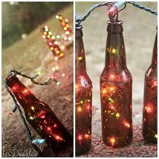 diy beer bottle table runner stuff colorful string lights into beer bottles to make a