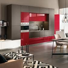 Cuisine Moderne équipée Rouge Ouverte Sur Salon Ambiance Cubiste