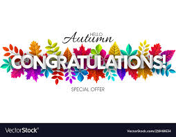 Congratulations Design Hello Autumn Congratulations Banner With Colorful