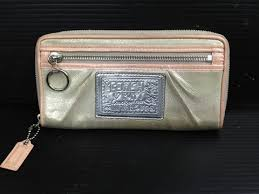 Coach POPPY long wallet large zip around Silver   Pink women s 4L17025