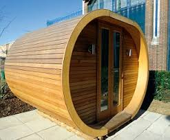 outside home office. this contemporary curved outdoor room is made from canadian red cedar outside home office e