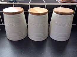 white cream tea coffee sugar storage jars with wooden lids only 5