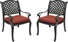 nevada cast aluminum outdoor patio dining chairs with sunbrella cushions