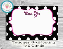 thank you cards teacher stationary polka dots instant download