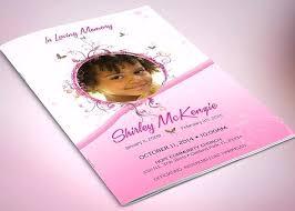 Pink Princess Funeral Program Template Publisher Microsoft