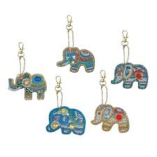 <b>5Pcs DIY</b> Full Special Shaped <b>Diamond Painting</b> Elephant Keyring ...