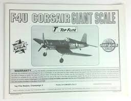 Top Flite Prop Chart Top Flite Giant Corsair F4u Instruction Build Owners Manual Gold Edition New