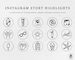 Summer Icons Instagram Story Highlight Icons Hand Drawn Icons Summer Icons Vacation Icons Instant Download