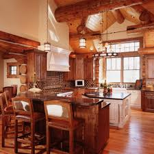 Cabin Kitchens Rustic Kitchen Cabinets For Log Homes Blue Design Accent Color On
