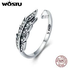 WOSTU NEW <b>925 Sterling Silver Vintage</b> Style Leaves , Clear CZ ...