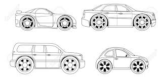 coloring book stylized cars set stock vector 32991912