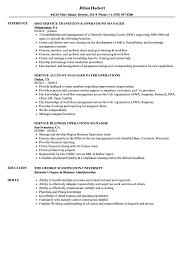 Operations Service Manager Resume Samples Velvet Jobs