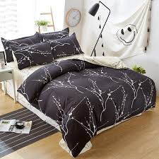 new style home bedding set black tree pattern flat sheet duvet cover bed sheet pillowcase king queen full twin size duvets for green duvet covers from