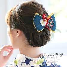 楽天市場髪飾り 青 ブルー 赤 黄色 梅 花 リボン ラインストーン 縮緬