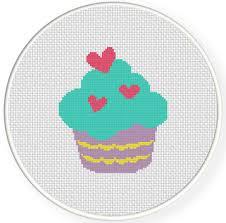 Heart Cupcake Cross Stitch Pattern