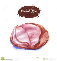 cooked ham drawing.  Ham Handdrawn Watercolor Cooked Ham Isolated On The White Background Easter  Holiday Dish For Cooked Ham Drawing