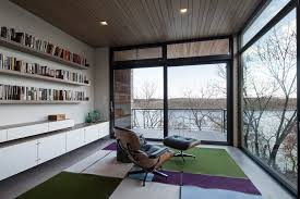 home office contemporary glass office. Floating Shelves In Office Home Contemporary With Wood Ceiling Sliding Glass Door