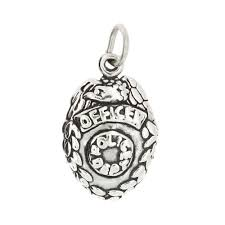 details about sterling silver police officer badge police badge charm pendant