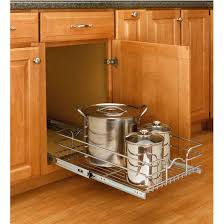 storage baskets kitchen cabinet chrome pull out wire baskets w full extension slides by rev a shelf kitchensource