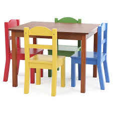 Table Set For Kids Tot Tutors Focus Wood Table And 4 Primary Colored Chairs Set