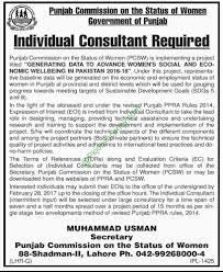 punjab commission on status of women consultant jobs vacancies punjab commission on status of women consultant jobs vacancies 2017