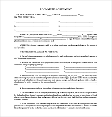 Sample Roommate Contract Roommate Agreement Template 11 Free Word Pdf Document Download