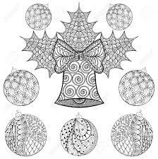 スタイルでボールとクリスマスの鐘大人の塗り絵のフリーハンドの民族クリスマスのスケッチ装飾用の芸術