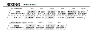 Gear Pro Tec Girdle Size Chart Protec Protec Classic Certified Bike Helmet Adult