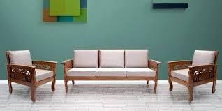 wooden sofa sets for living room teak wood sofa set 3 1 1 in natural