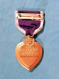 reverse side of apperson s purple heart