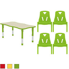 school table. Kids Table And Chair Set - Adjustable Leg Wavy Activity School Child Bright Color