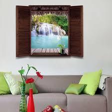 waterfall scenery window design 3d wall stickers