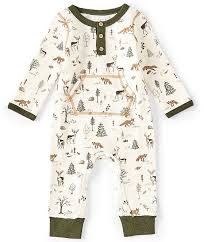 Mud Pie Baby Boys 3 12 Months Long Sleeve Forest Friends Printed Coverall