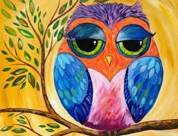 Easy Paintings Colorful Owl Acrylic Painting Lesson For Beginners Youtube