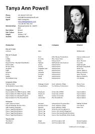 Resume Examples For Actors Actors Resume Template Actor Resume Template Free Actors Resume